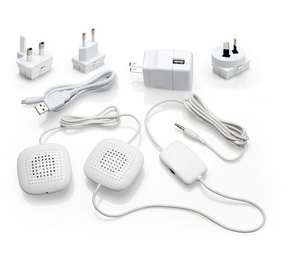 PA-200 Amplified Stereo Pillow Speakers with High Volume Stereo Sound, Inline Volume Control and International Adapter Kit